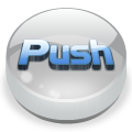 round 3D glass push icon