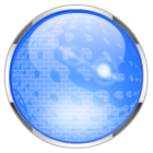 blue glass ball button