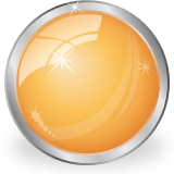 glass shiny orange ball icon