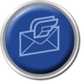 round shiny blue button email