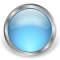 round glass metal button blue